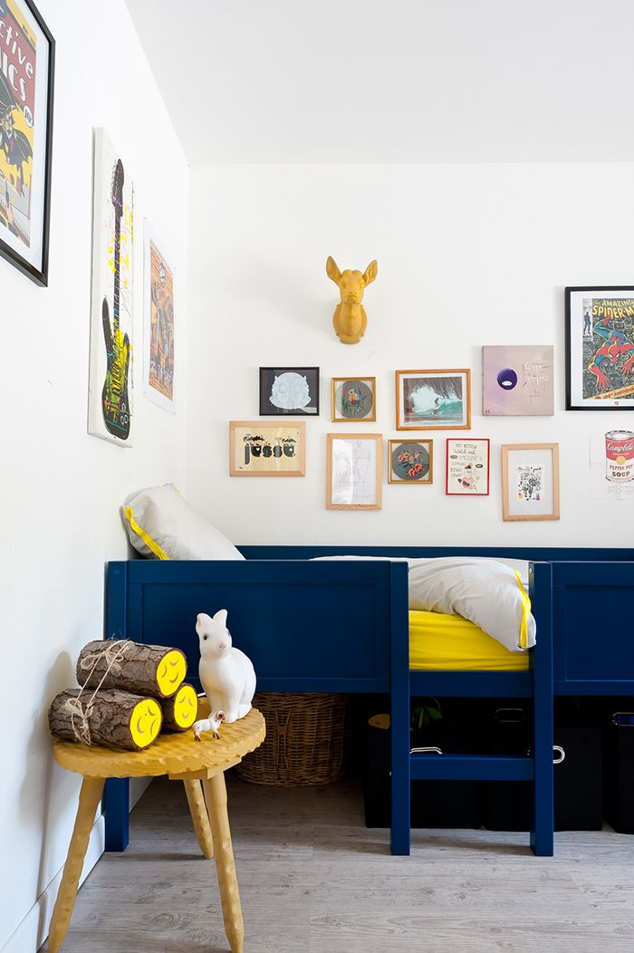 Dark blue and Yellow = Modern kid's room, gallery wall