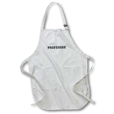 3dRose Professor and proud - Academic gifts - university or college lecturer teacher prof gifts -Black text, Full Length Apron, 22 by 30-inch, White, With Pockets