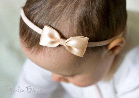 Peach Baby Headbands Bows - Small Satin Peach Bow Handmade Headband - Infant to Adult Headband