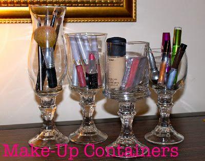 DIY: Good Ideas, Crafts Ideasdiyto, Dollar Stores, Bathroom Storage, Candles Holders, Wine Glass, Make Up Organic, Bathroom Ideas, Diy Makeup