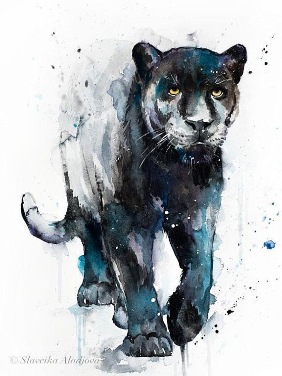 Black panther watercolor painting print by Slaveika Aladjova, art, animal, illustration, home decor, Nursery, gift, Wildlife, wall art, cat  – draw
