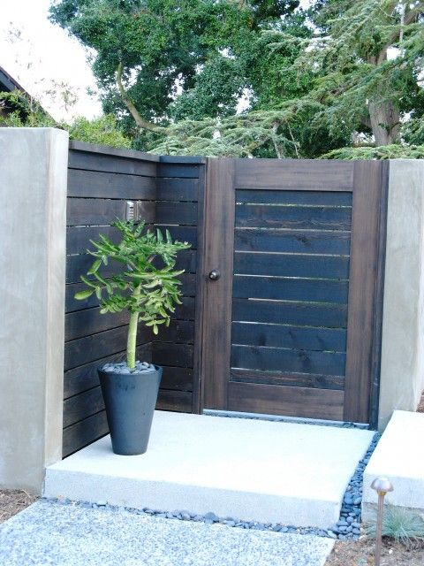 Front Gate and replace rod iron decor around court yard with this ... same spacing and board size as back yard