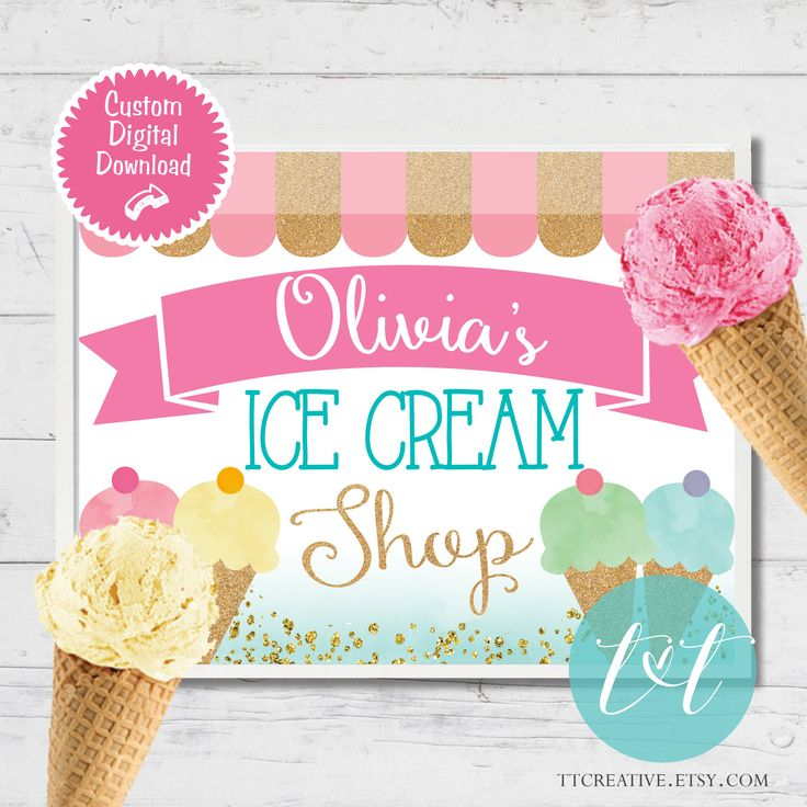 Ice Cream Shop PERSONALIZED NAME Sign Multiple Size