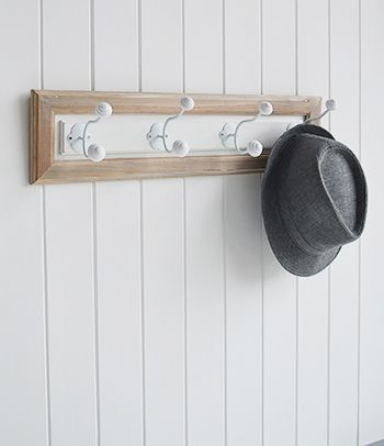 The White Lighthouse hallway furniture and accessories, coat hooks white and natural wood