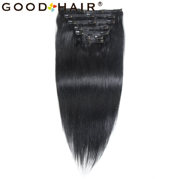 GOOD HAIR PRODUCTS Straight Clip In Hair 100% Human Hair Extensions Brazilian Non-Remy Hair Black Color 100G 7pcs/set
