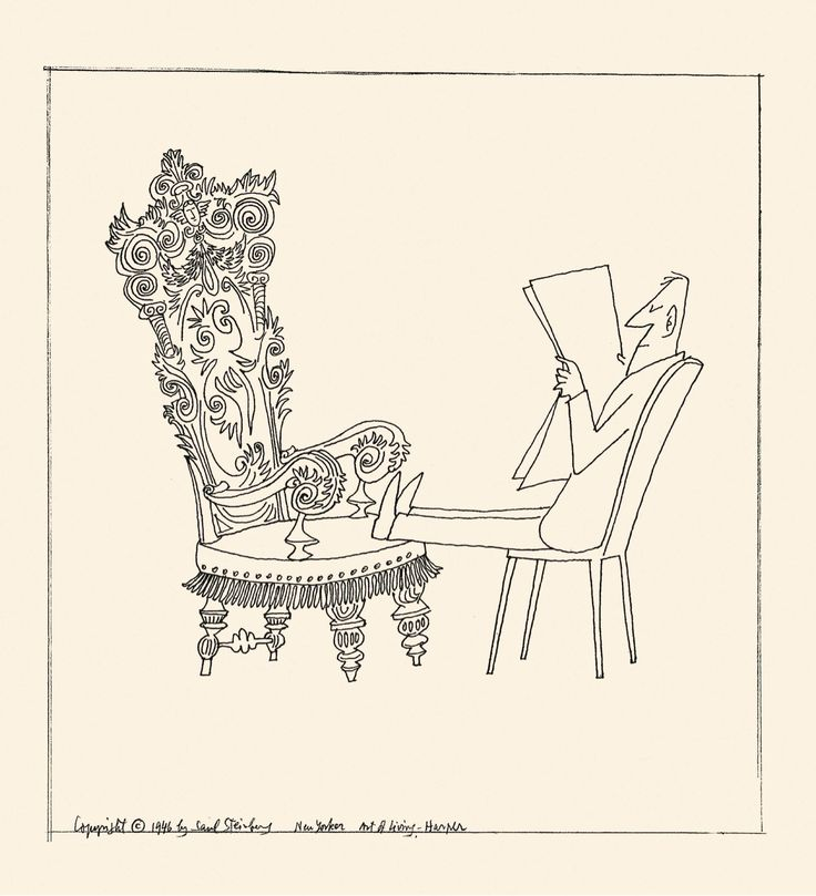 Saul Steinberg New Yorker | Saul Steinberg, Feet On Chair , 1946 Ink Over  Pencil