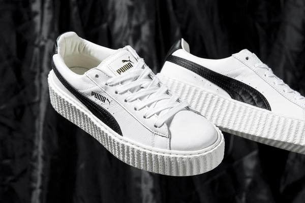 PUMA x FENTY by Rihanna Cracked Creeper (White) - Men's Size NOTE: Sizes are in US MEN'S SIZES  It's been a while since Rihanna's given us a fresh Fenty PUMA Creeper colorway. Well surprise — there's an all-new iteration dropping in just one week. There are two pairs to be exact, and at first glance they appear to be classic white with a black formstripe and beloved all-black. Look closer and you'll notice the textured, crinkled leather at play. ( source )   FINAL SALE NO RETURNS