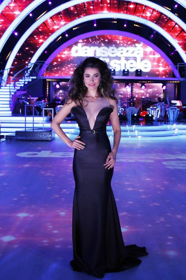 Lili Sandu wearing Marie Ollie for Dancing with the Stars tv show.