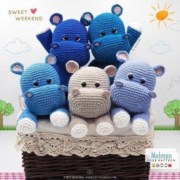 Amigurumi Small Hippo Free Crochet Pattern - Cool Creativities | 618x618