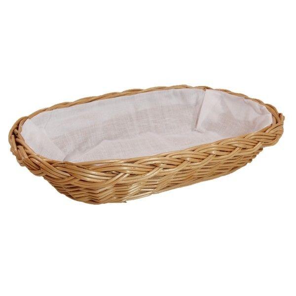 """Wiklinowy koszyk """"BROT"""" wyściełany materiałem (biały)"""