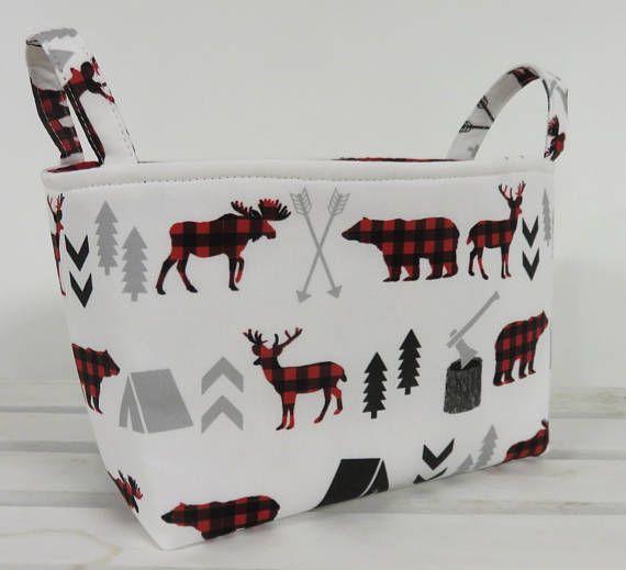 Storage Fabric Organizer Bin Container Basket Bear Moose