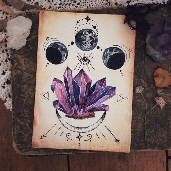 Amethyst Eye ~ Knowing ~ Original Artwork Painting ~ Crystal ~ Purple Lines Moon Moonphase Tattoo Art