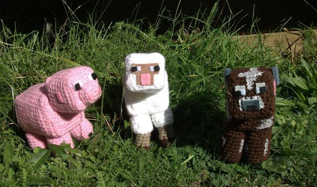 minecraft Crochet~Stuffy Pinterest Cow, Sheep and Funny
