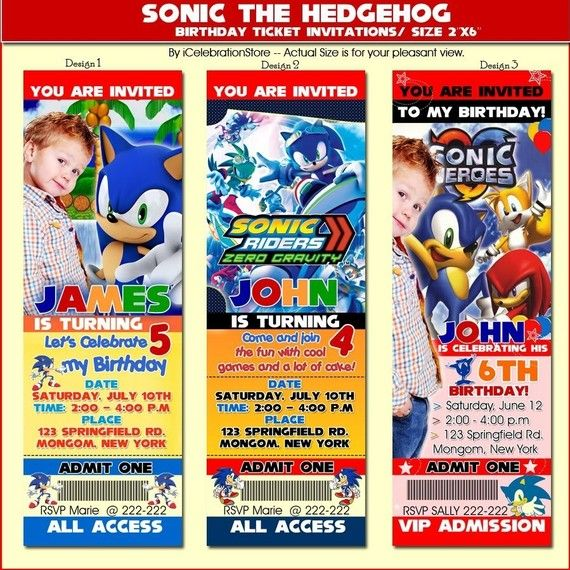 Sonic The Hedgehog Birthday Party Invitations  by iCelebration, $12.99. OMG love these!!