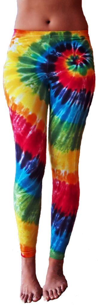 Ladies Tie Dye Yoga Leggings - Rainbow Color Ladies Yoga Pants The perfect layering piece hand dyed with love. These fitted, tapered leggings hit