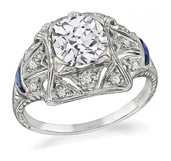 2e509cd8ab870 Art Deco GIA Certified 1.24ct Diamond Engagement Ring | Antique ...