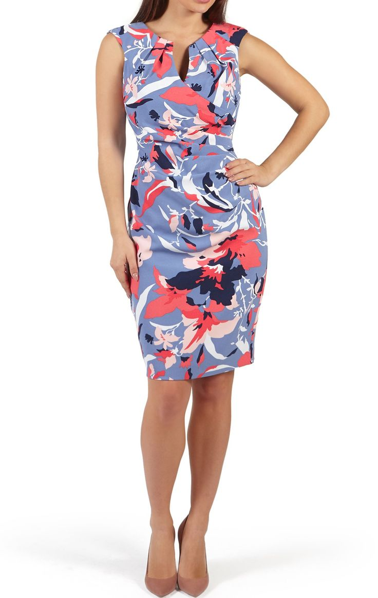 On sale now! Rosalind Blu | Blue & Pink Summer Print Tailored Shift Dress for wedding guests, garden parties & sporting events