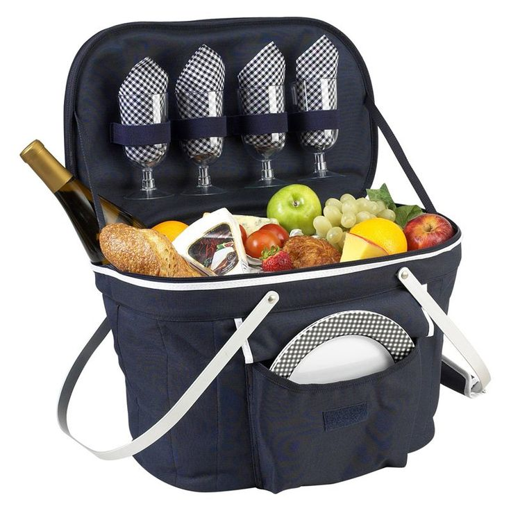Picnic At Ascot Collapsible Insulated Picnic Basket Set with Serving for 4 Navy - 401-B