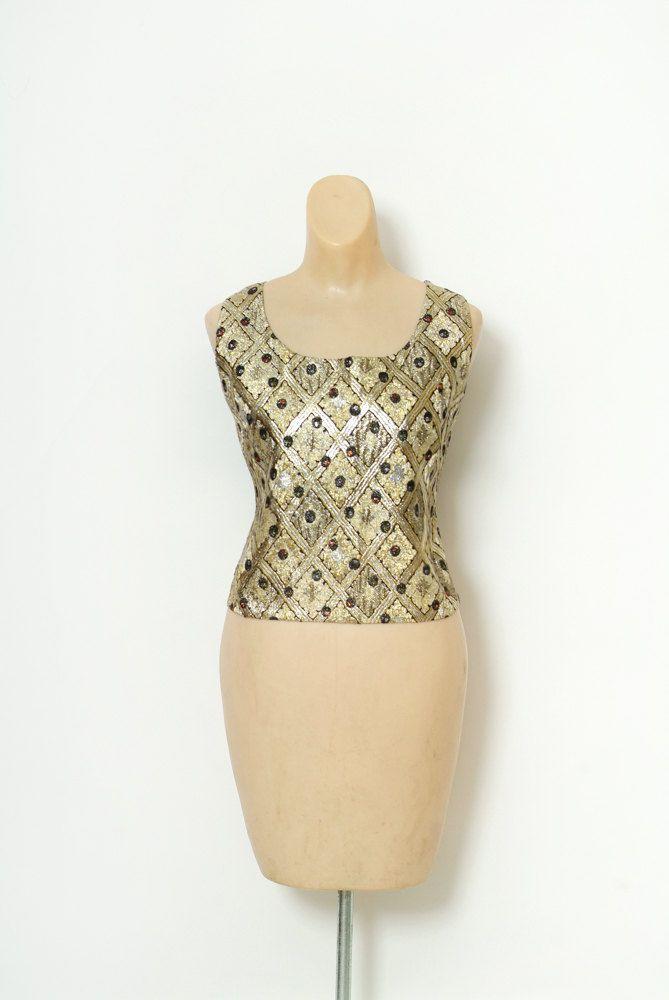 Vintage 60s Gold Shirt/ 60s Gold Metal Shirt / Blouse 50s metallic cocktail / 1950s Vintage Top /Dress Mod Gogo High Neck  Dress Party Dress by VintageBoxFashions on Etsy