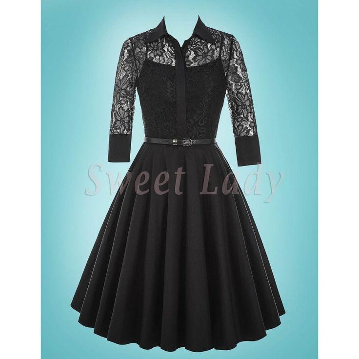 Elegantné čierne vintage šaty s čipkovaným vrškom