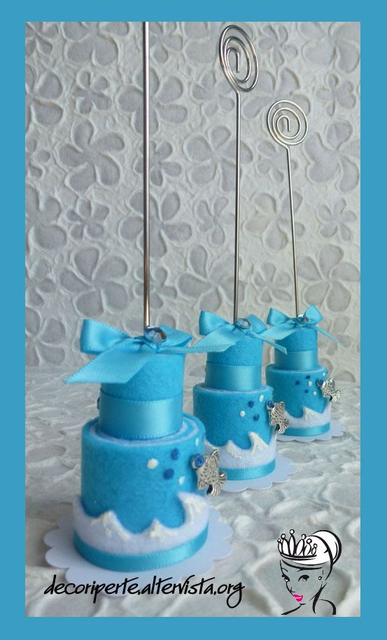 Sea theme felt mini cake - with spiral card holder