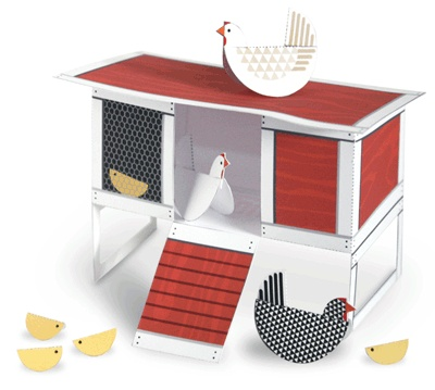 Printable instructions link to make adorable chicken and coop!
