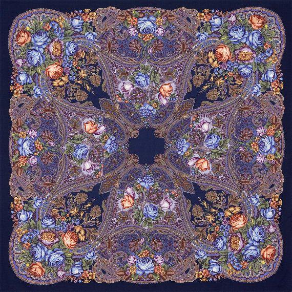 Elite blue Russian Pavlovo Posad Wool Shawl by russianicon on Etsy