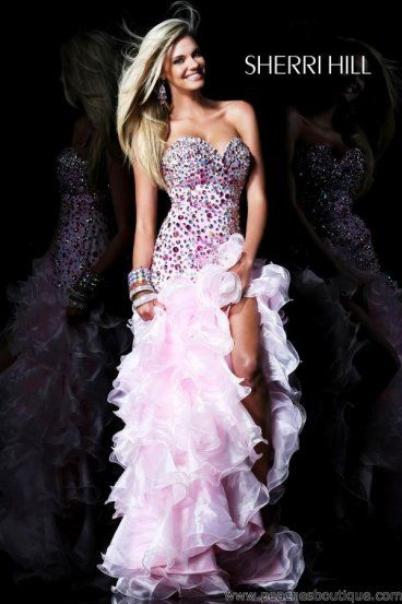 2014 Lilac Strapless Ruffled High To Low Beaed Prom Dress