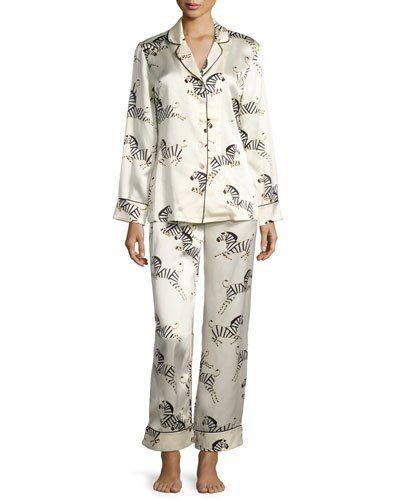 Lila Zebra-Print Pajama Set