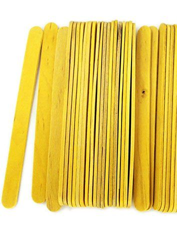 "Durable, Strong & Non-Toxic {4.5"" x .38"" Inch} 1000 Wholesale Pack of Mid Size Multi-Purpose Craft Sticks for DIY, Food, Beauty & More, Made of Baltic Birch Wood w/ Stained Wood Style {Yellow}"