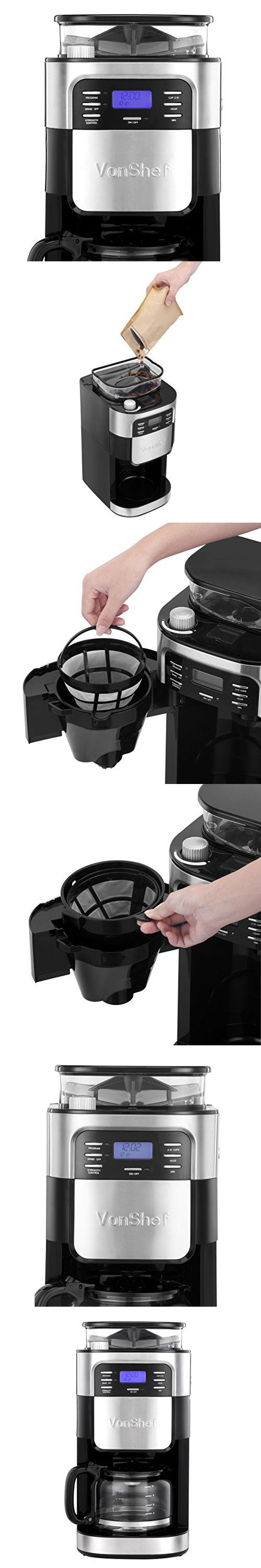 VonShef 900W 10 Cup Digital Filter Coffee Maker with Built-In Grinder and Reusable Filter