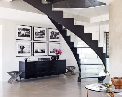 Clear Steps: Interior Design, Decor, Staircases, Interiors, Living Room, Black White, Concrete Floors, Glass Stairs