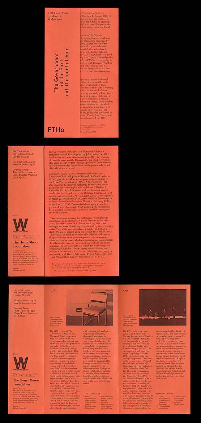 Flat Time House / Helios Capdevila / A leaflet to concide with a reenactment of a performance proposed by John Latham in 1978, documenting the first version as well as a second enactment in 1991