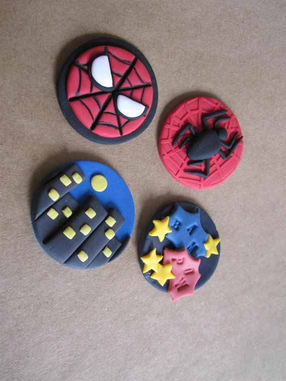 Spiderman inspired Fondant Cupcake Toppers by CottageCreekCakeArt