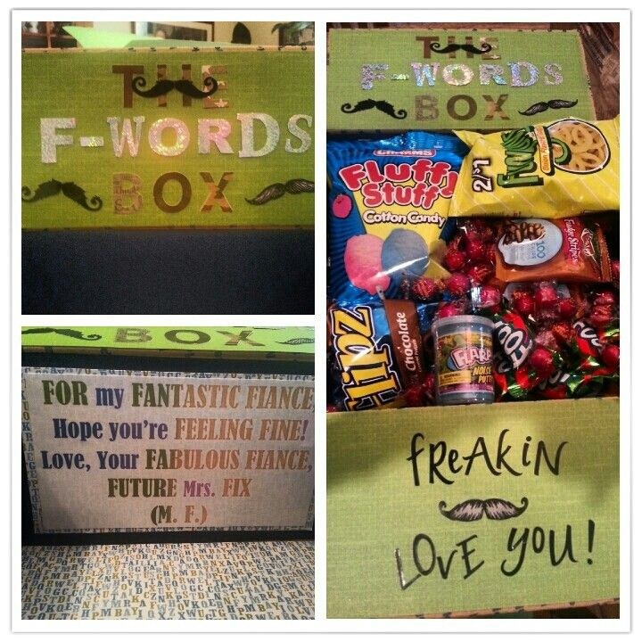 """The F-words box deployment care package lol! Everything in the box started with the letter """"F"""" ! Funioins, fiddle faddle, flips pretzels,  fluffy stuff cotton candy, fruit roll ups, fitness magazine, fire balls, flarp, fudge stripes cookies, fruit punch drink mix, goldFish. .ect"""