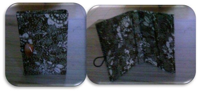 porta tarjetas de presentación, cartonaje y tela de algodón