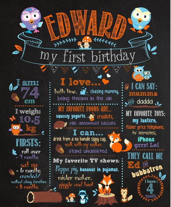 Customizable Printable First Birthday Chalkboard Poster - woodland giggle and hoot Birthday Chalkboard Poster orange blue on Etsy, $16.41 AUD