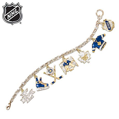 Officially NHL® authorized charm bracelet honouring the Toronto Maple Leafs®. With Swarovski® crystals and 24K-gold plating. $179.00 CAD    My bracelet charms would be: frozen waffle, 18-wheeler ... actually just 4 waffles and 1 mofo scary truck chock full of truckulence. Mogilny and Lupul on the side.