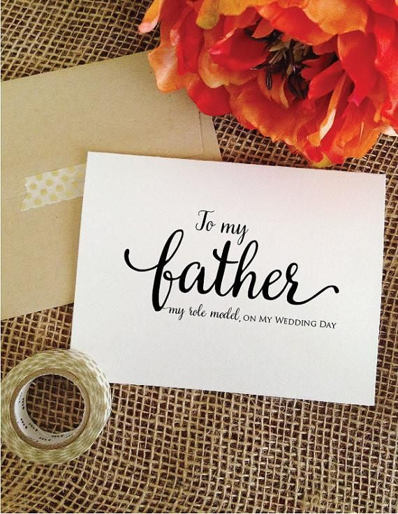 To my father my role model, on my wedding day. Father of the Bride Card (Lovely)