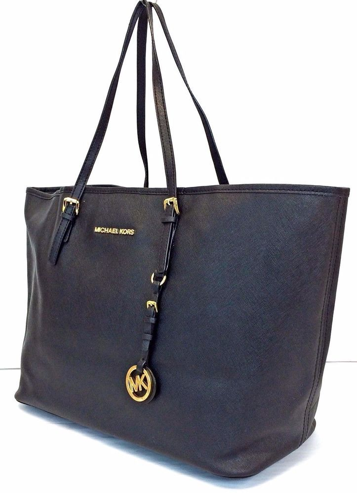 Michael Kors Jet Set Travel Black Saffiano Leather Open Top Tote #MichaelKors #Tote