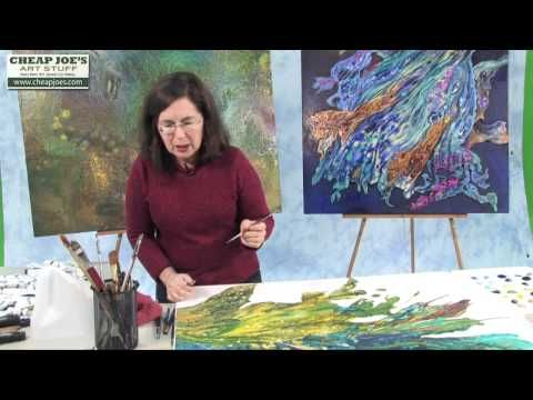 Debbie Arnold- Completing a Poured Acrylic Skin Collage - YouTube