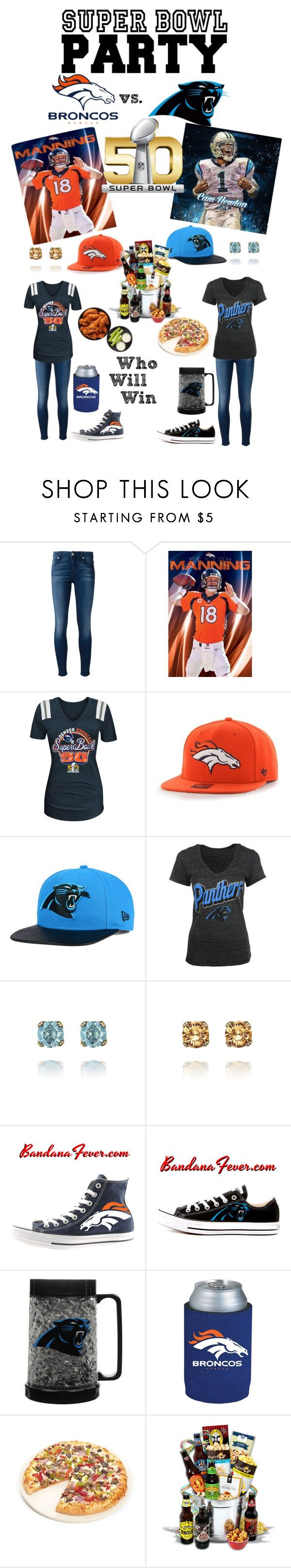 """Super Bowl 50 - Broncos vs Panthers"" by stylez-by-bee ❤ liked on Polyvore featuring 7 For All Mankind, '47 Brand, New Era, Chloe + Isabel, Converse, Kolder, Fox Run, women's clothing, women and female"