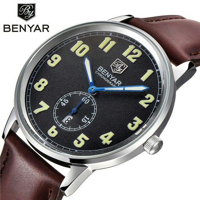 2016 New Brand BENYAR Men Casual Sports Watches Men's Quartz Watch Genuine Leather Strap Clock Men Waterproof Wrist watch Reloj