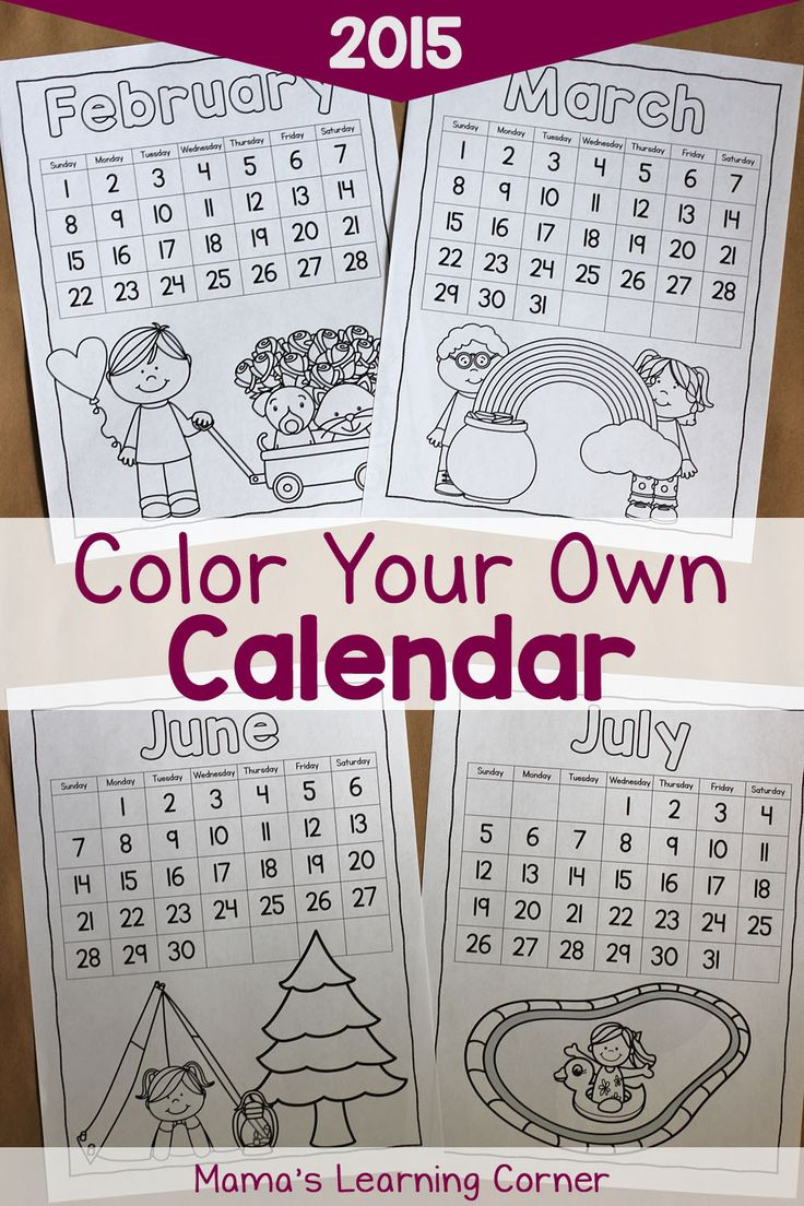 Color your own calendar with this free download! Includes Jan-Dec 2015 in 3 different styles.