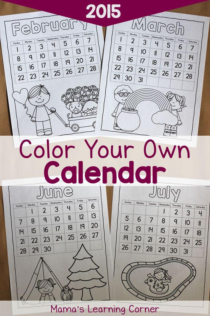 Color Your Own Calendar: Free Printable! January through December 2015