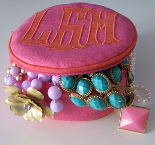 Monogrammed jewelry pouch. Visit paperladyonline.com for more custom monogrammed pieces!