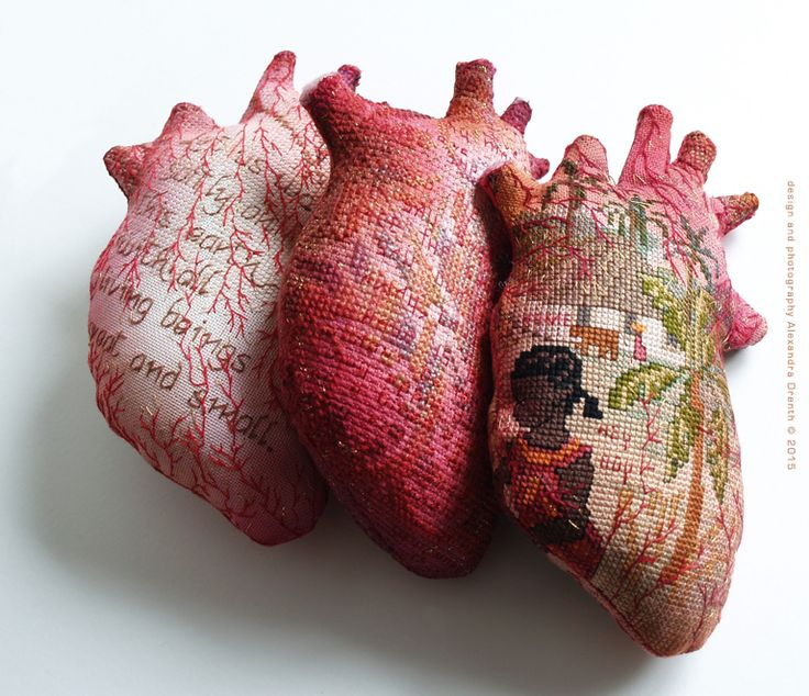 """""""It's all about the inside, please handle with care"""", embroidered hearts~Design & Image © Alexandra Drenth, 2015"""