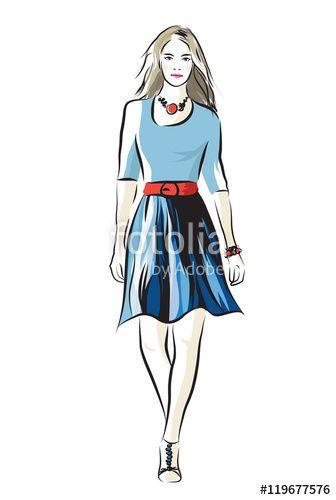 """Pobierz grafikę wektorową royalty free  """"Vector illustration of young fashion woman"""" autorstwa Ornavi w najniższej cenie na Fotolia.com. Przeglądaj naszą bazę tanich obrazów online i odnajdź doskonałą stockową grafikę wektorową do Twoich projektów reklamowych!"""