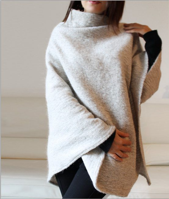 Wool sweater cape cream knitted poncho italian by Afycollection, $58.00