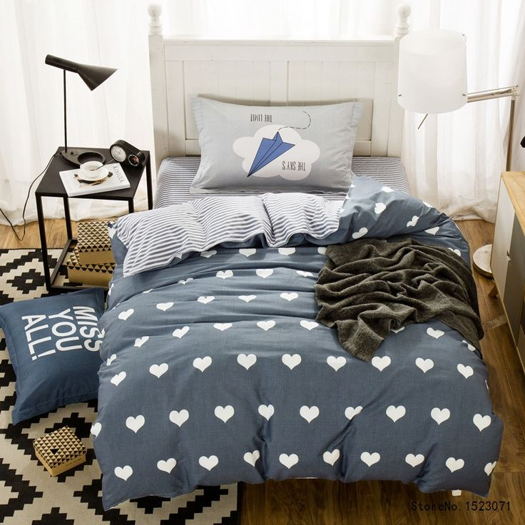 ==> [Free Shipping] Buy Best TUTUBIRD 3pcs blue heart shaped bedding set cartoon kids duvet cover twin size bed sheet bedspread bed linen housse de couette Online with LOWEST Price   32794627405